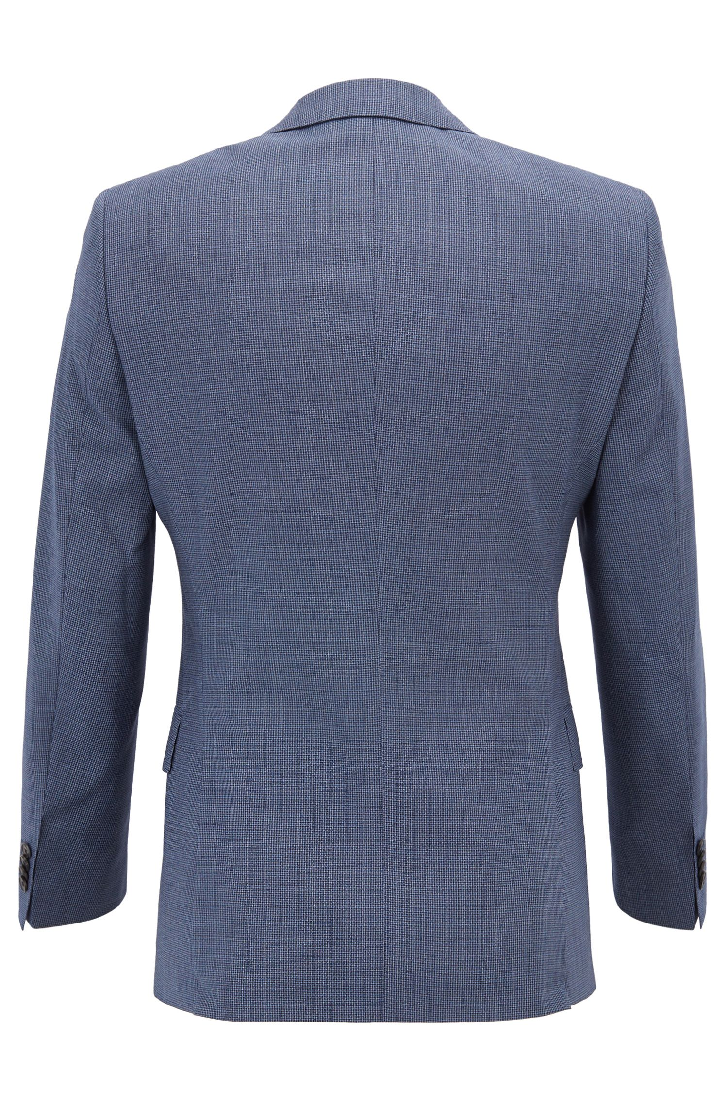 Slim-fit suit in patterned virgin wool with buttonhole, Open Blue
