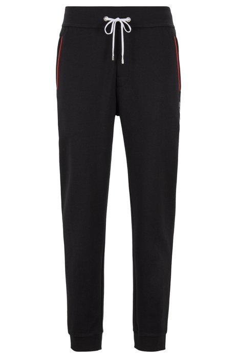 Loungewear pants with cuffed hem in cotton-blend piqué , Black