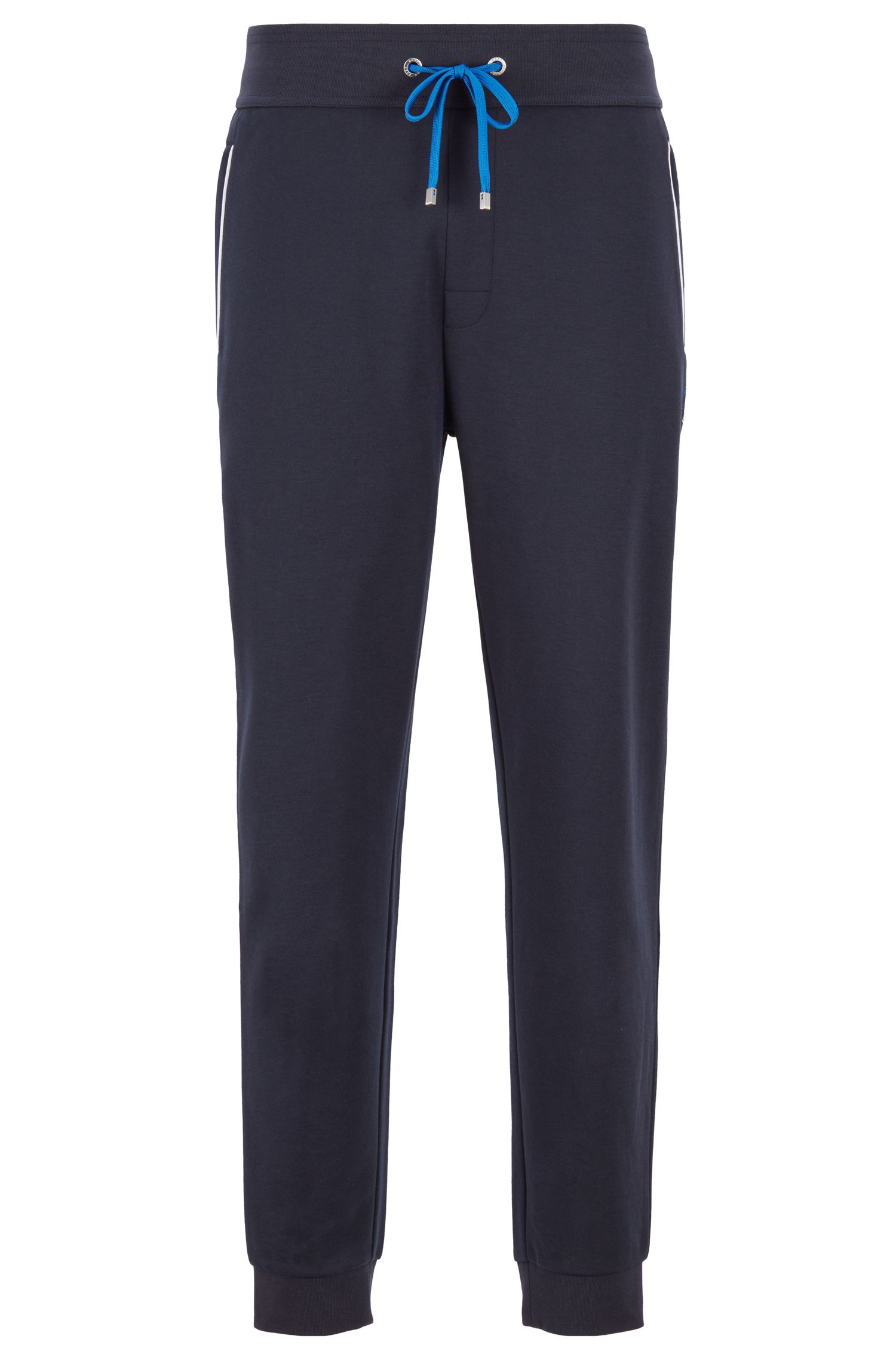 Loungewear pants with cuffed hem in cotton-blend piqué , Dark Blue