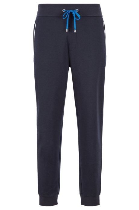 Loungewear pants with cuffed hem in cotton-blend piqué , Dark Blue