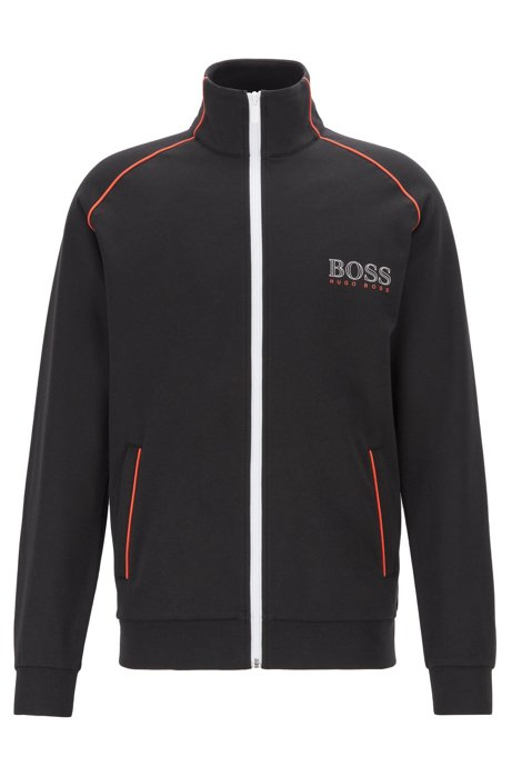Regular-fit jacket with contrast color piping, Black