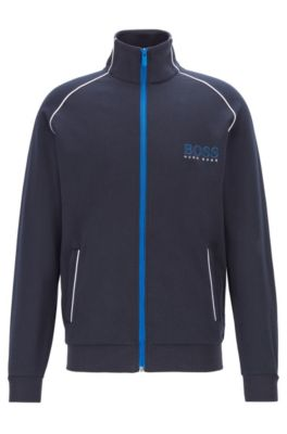 Regular-fit jacket with contrast color piping, Dark Blue