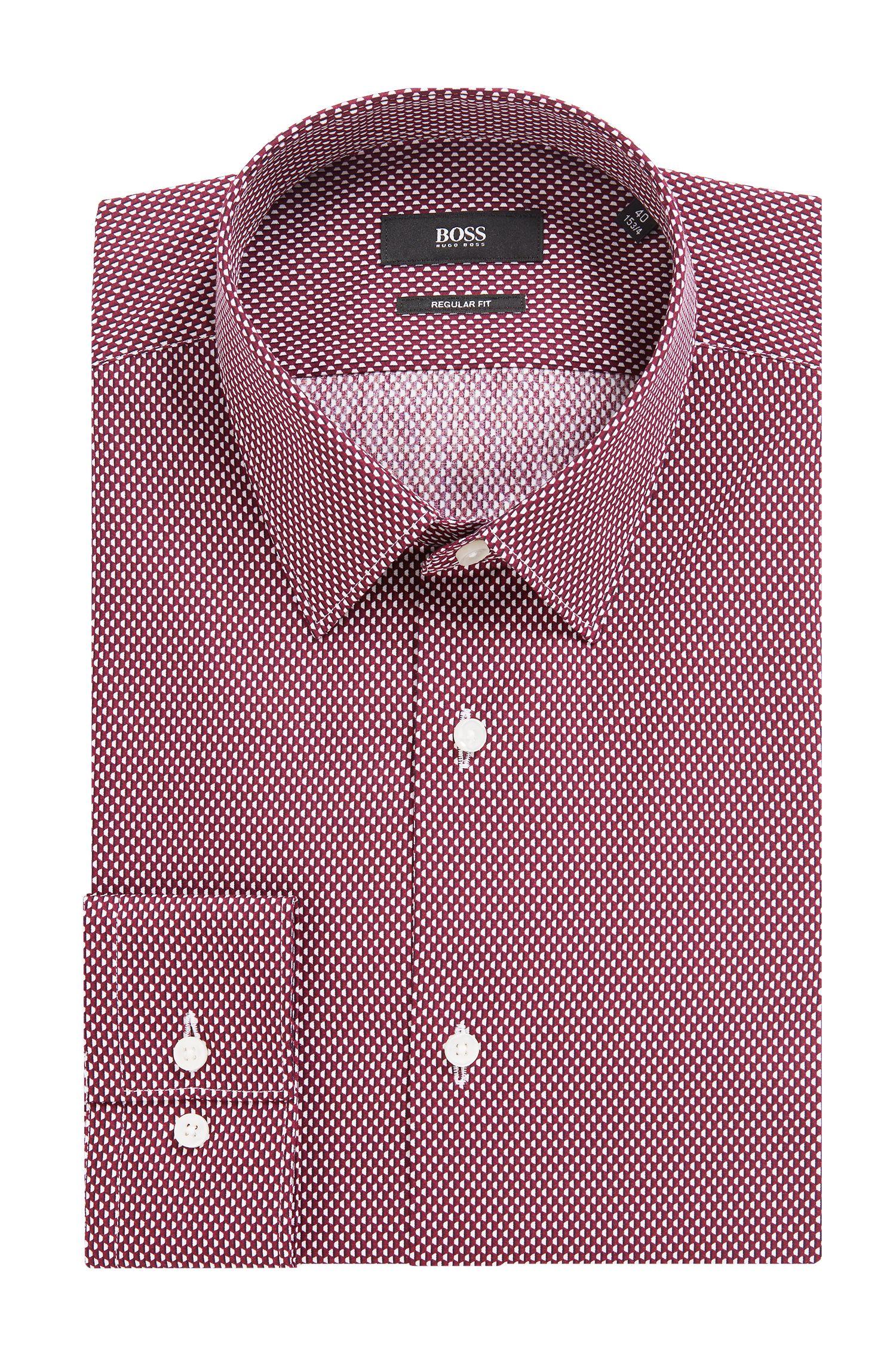 Regular-fit shirt in Italian cotton with hexagonal print, Dark Red