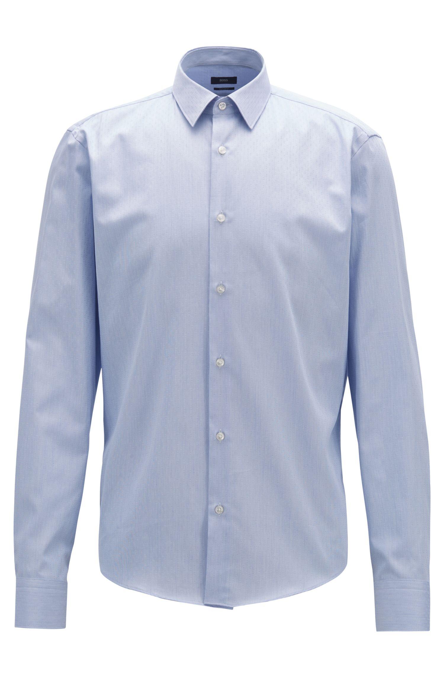 Regular-fit shirt in dobby cotton, Light Blue