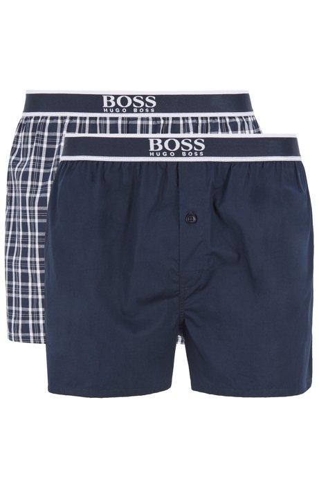 Two-pack of pajama shorts in cotton poplin, Dark Blue
