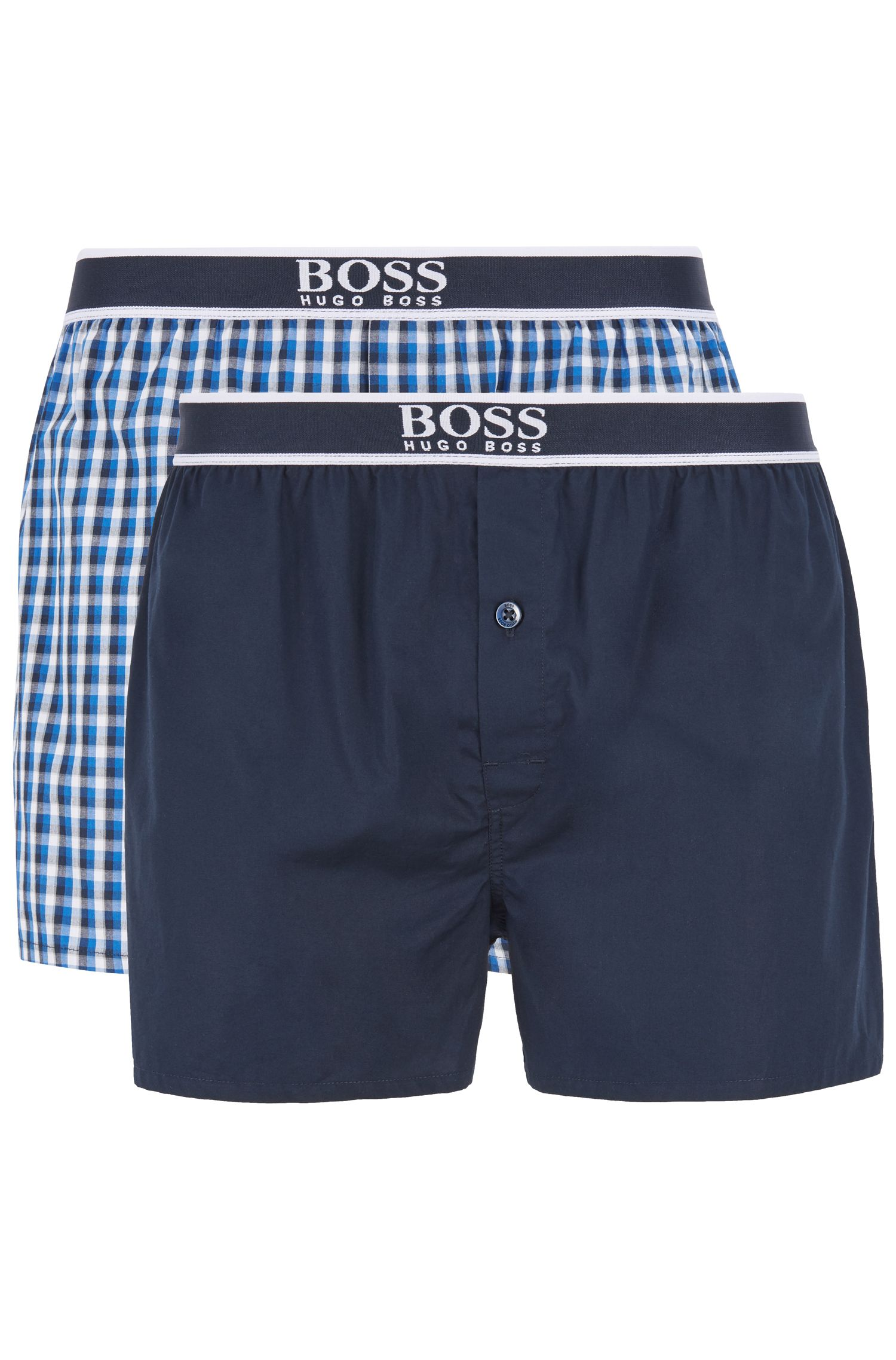 Two-pack of pajama shorts in cotton poplin, Turquoise