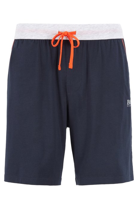 Drawstring pajama shorts in stretch jersey with contrast piping, Dark Blue