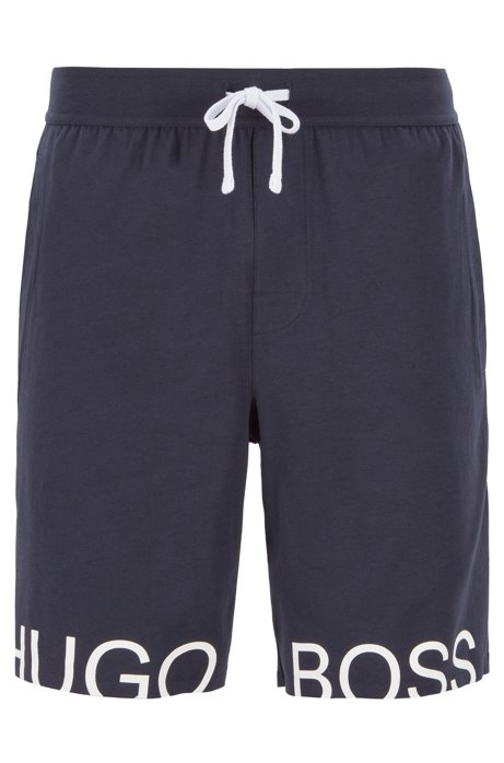 Drawstring pajama shorts in stretch cotton with foil logo, Dark Blue