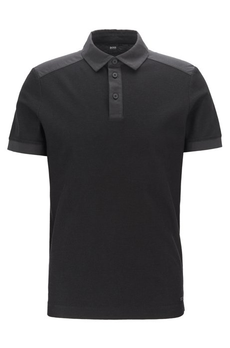Regular-fit polo shirt in jacquard mesh jersey, Charcoal