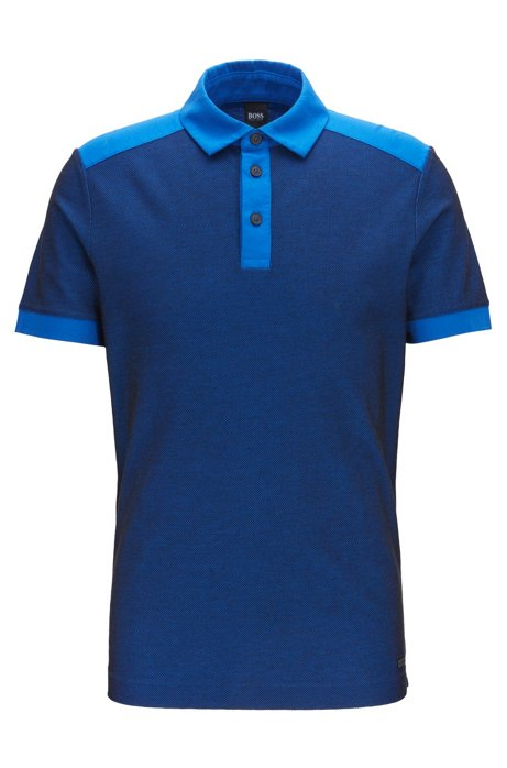Regular-fit polo shirt in jacquard mesh jersey, Blue