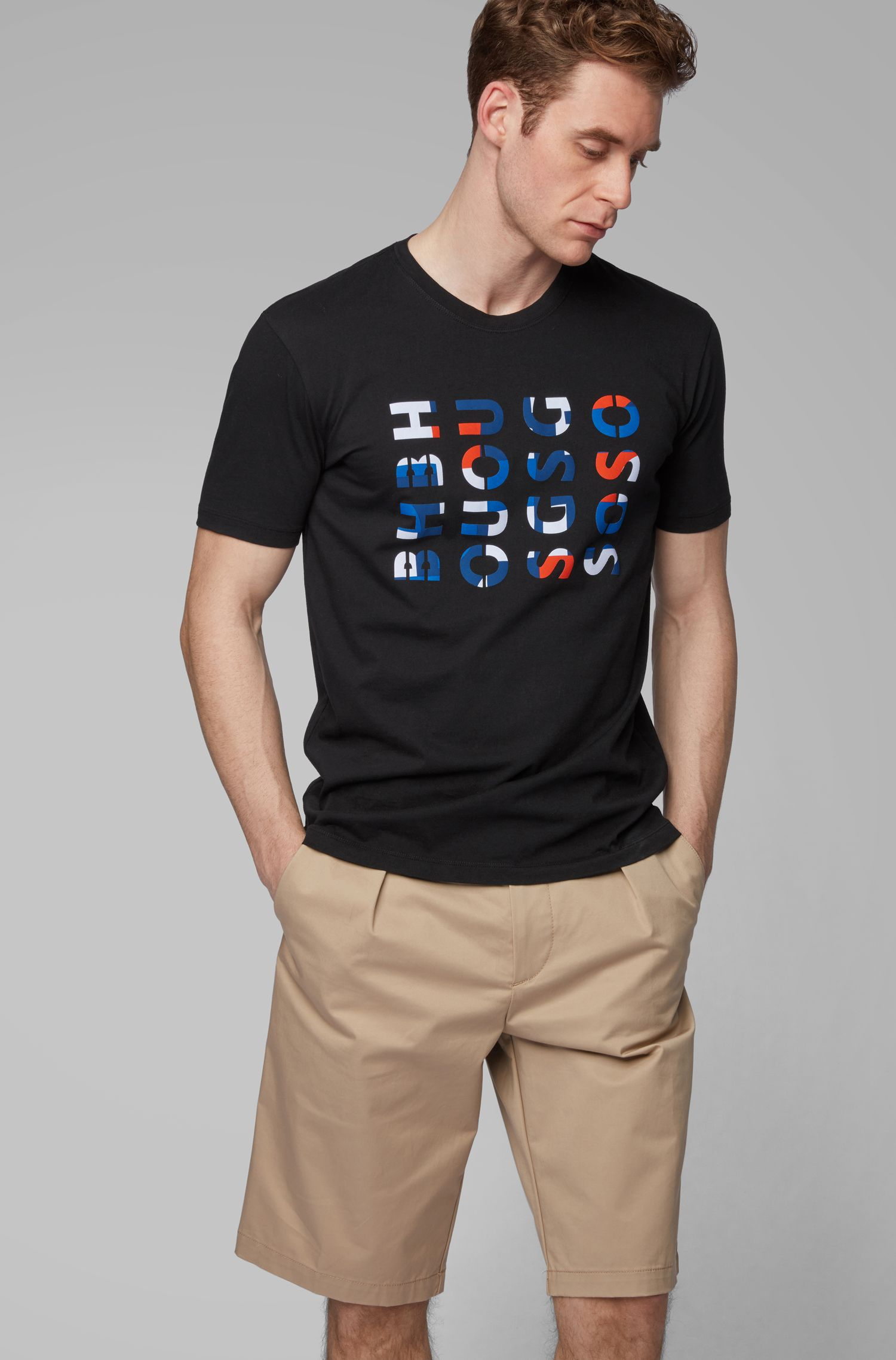 Crew-neck T-shirt in washed cotton with logo artwork, Black