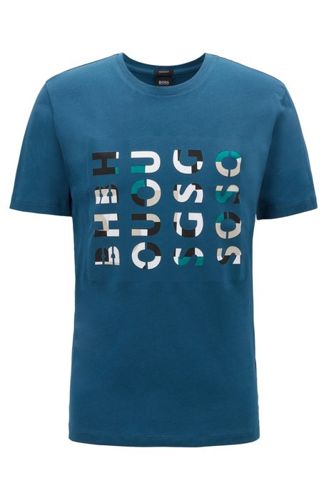 Crew-neck T-shirt in washed cotton with logo artwork, Blue