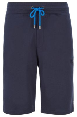 Loungewear shorts in melange French terry, Dark Blue