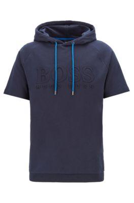 Regular-fit loungewear T-shirt in French terry, Dark Blue