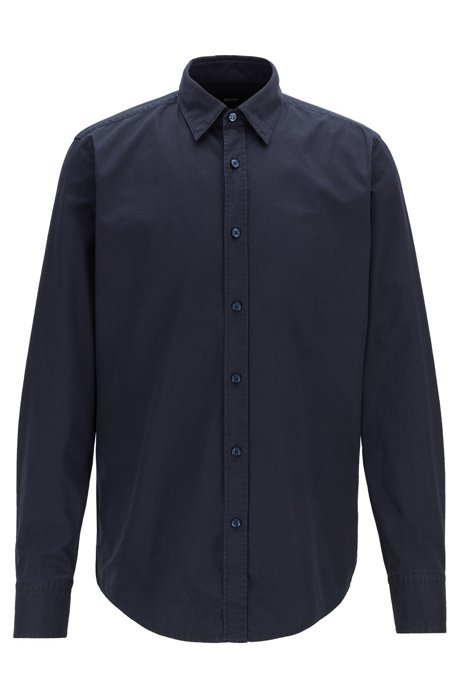 Regular-fit shirt in cotton canvas with dot print, Dark Blue