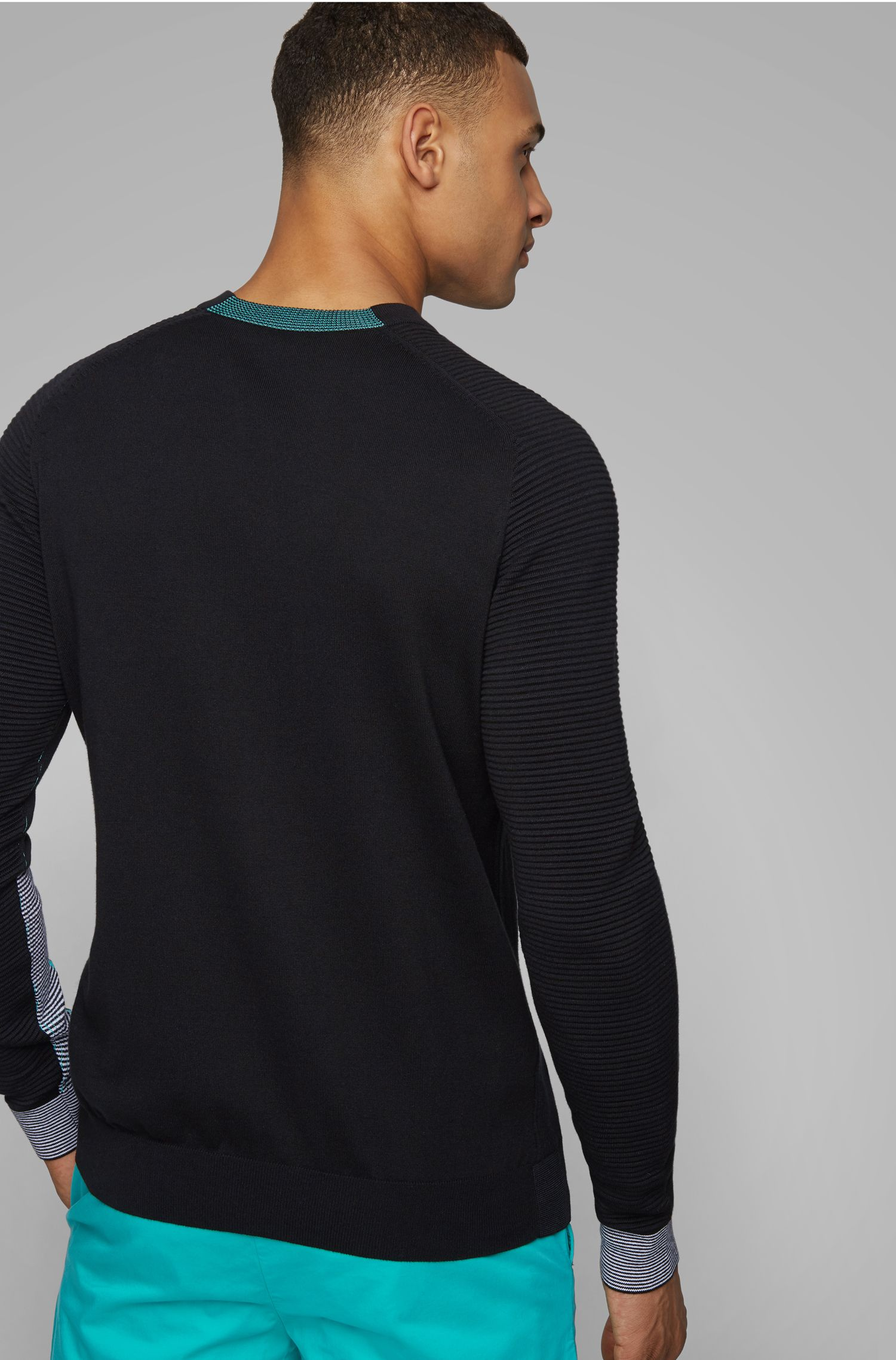Knitted sweater in a cotton blend with tonal details, Black