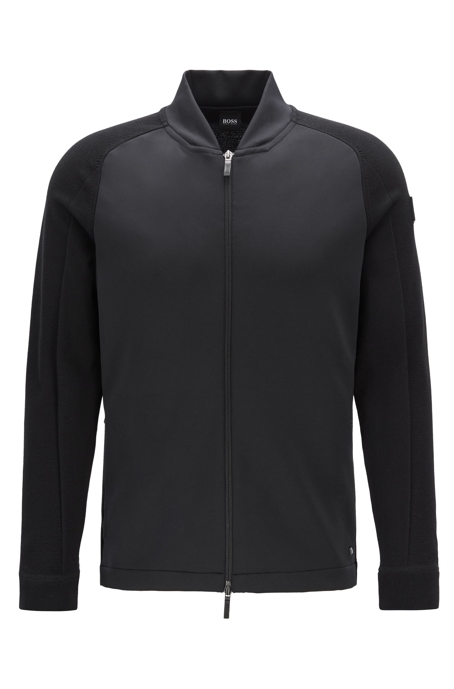Hybrid knitted jacket with shifted seams, Black