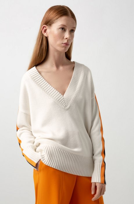 Oversized-fit sweater in cotton and cashmere, Natural