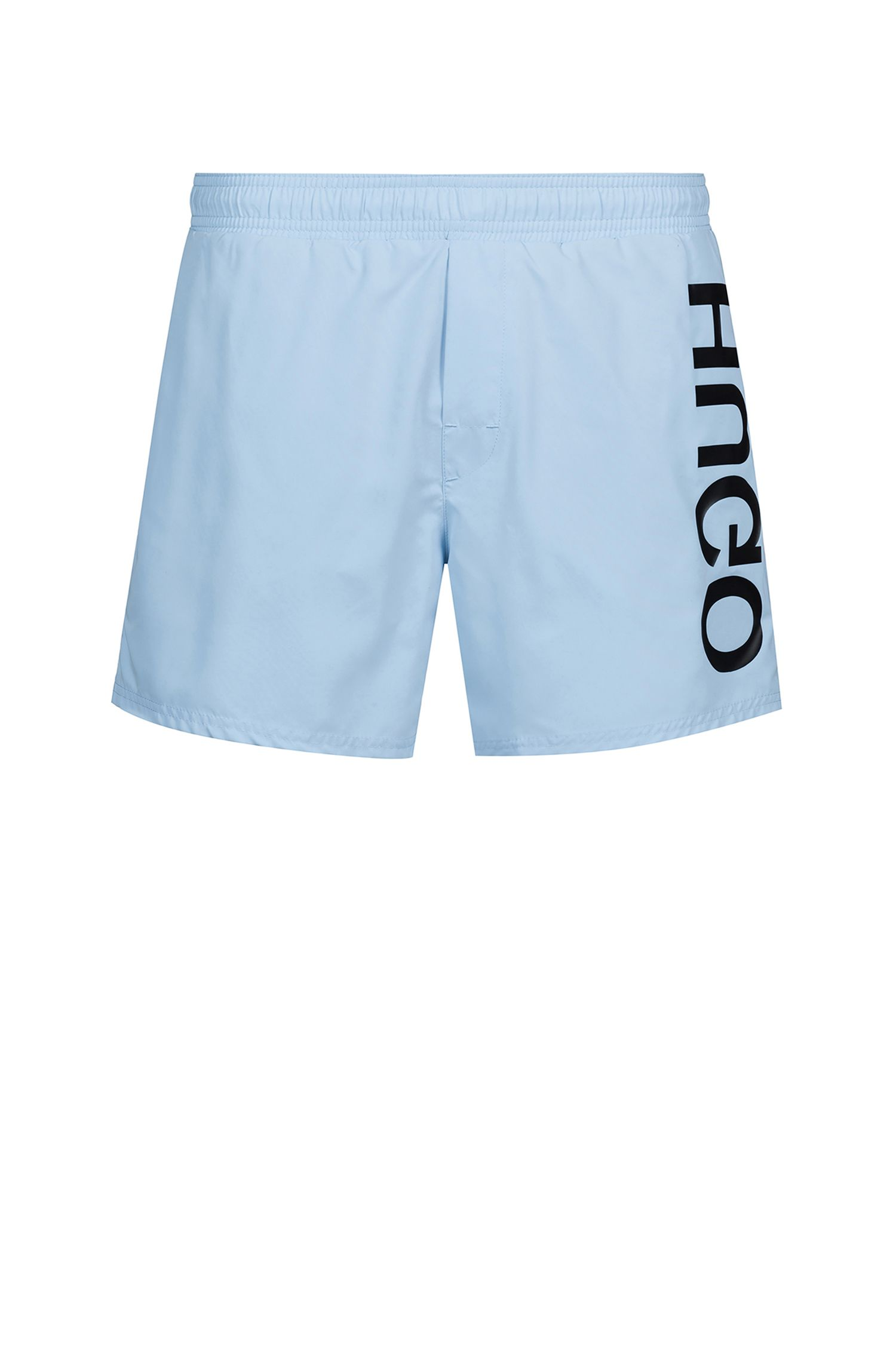 Quick-drying swim shorts with large-scale reverse logo, Light Blue