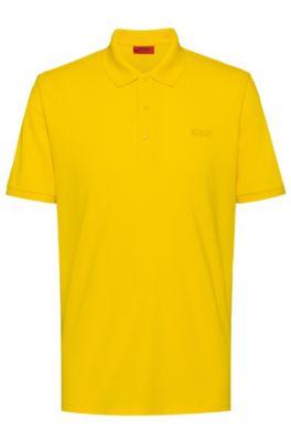 Reversed-logo polo shirt in cotton piqué, Yellow