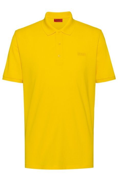 Reversed-logo polo shirt in cotton piqué, Yellow