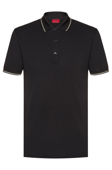 Slim-fit polo shirt in stretch-cotton piqué, Black