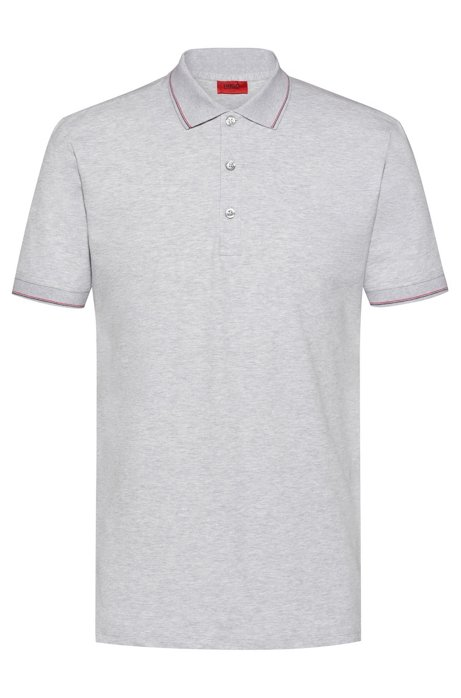 Slim-fit polo shirt in stretch-cotton piqué, Open Grey
