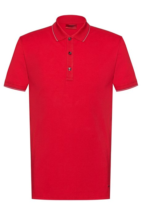 Slim-fit polo shirt in stretch-cotton piqué, Open Pink