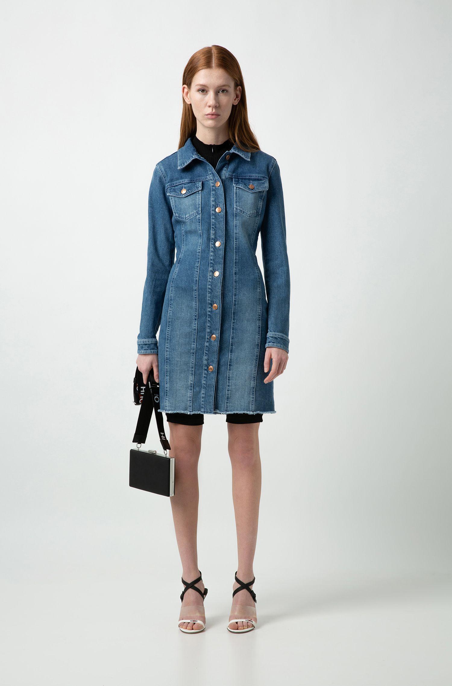 Slim-fit shirt dress in Italian comfort-stretch denim, Turquoise