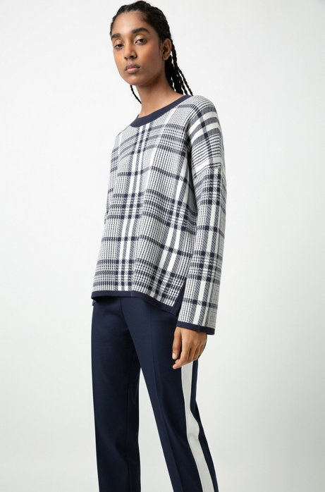 Relaxed-fit sweater in a jacquard check, Patterned