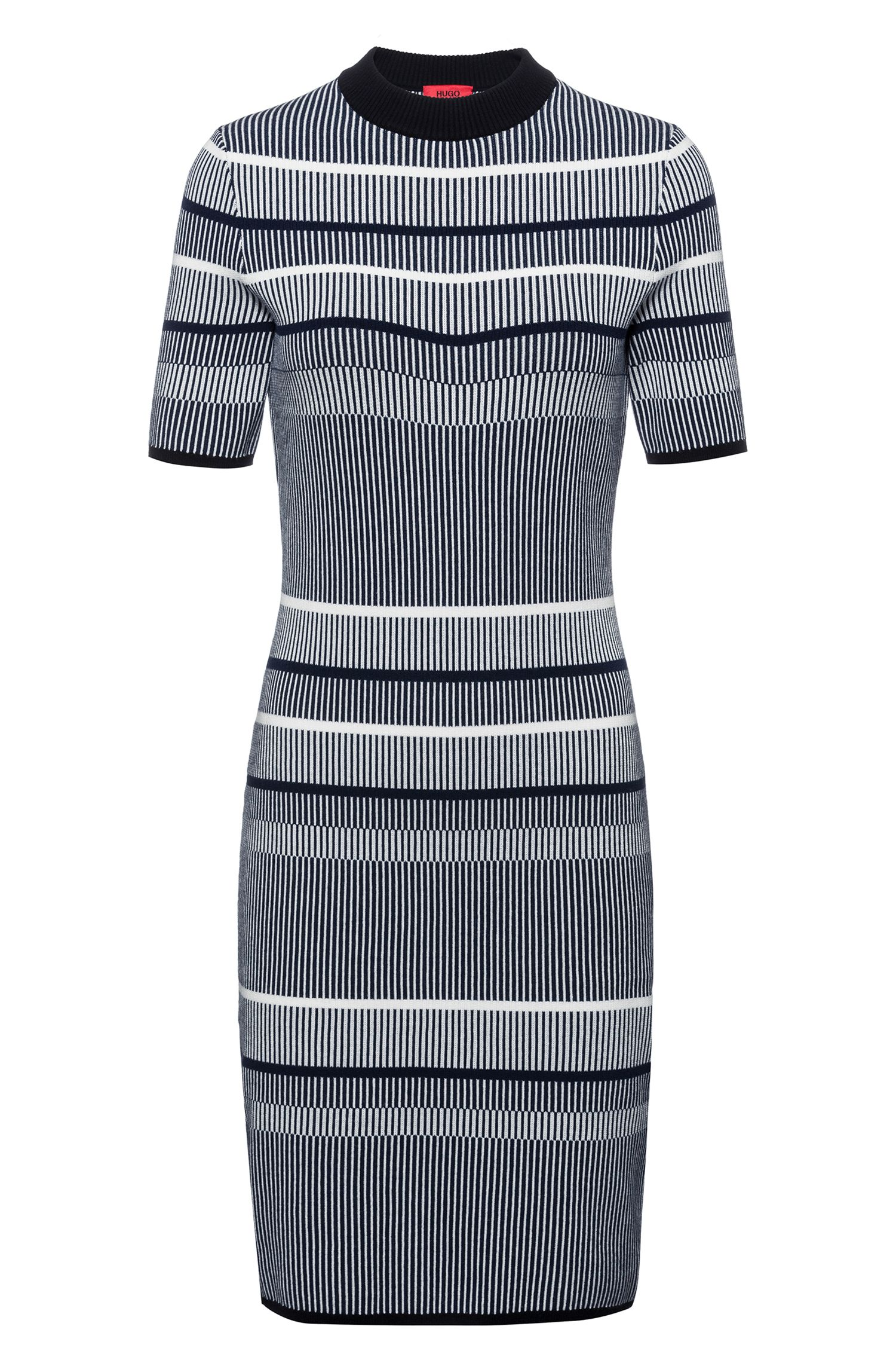 Slim-fit knitted dress in striped super-stretch fabric, Patterned