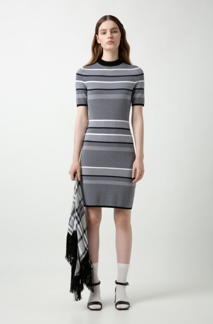 Slim-fit knitted dress in striped super-stretch fabric