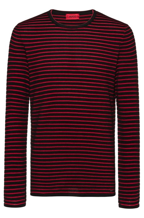 Breton-striped cotton sweater in knitted piqué, Black
