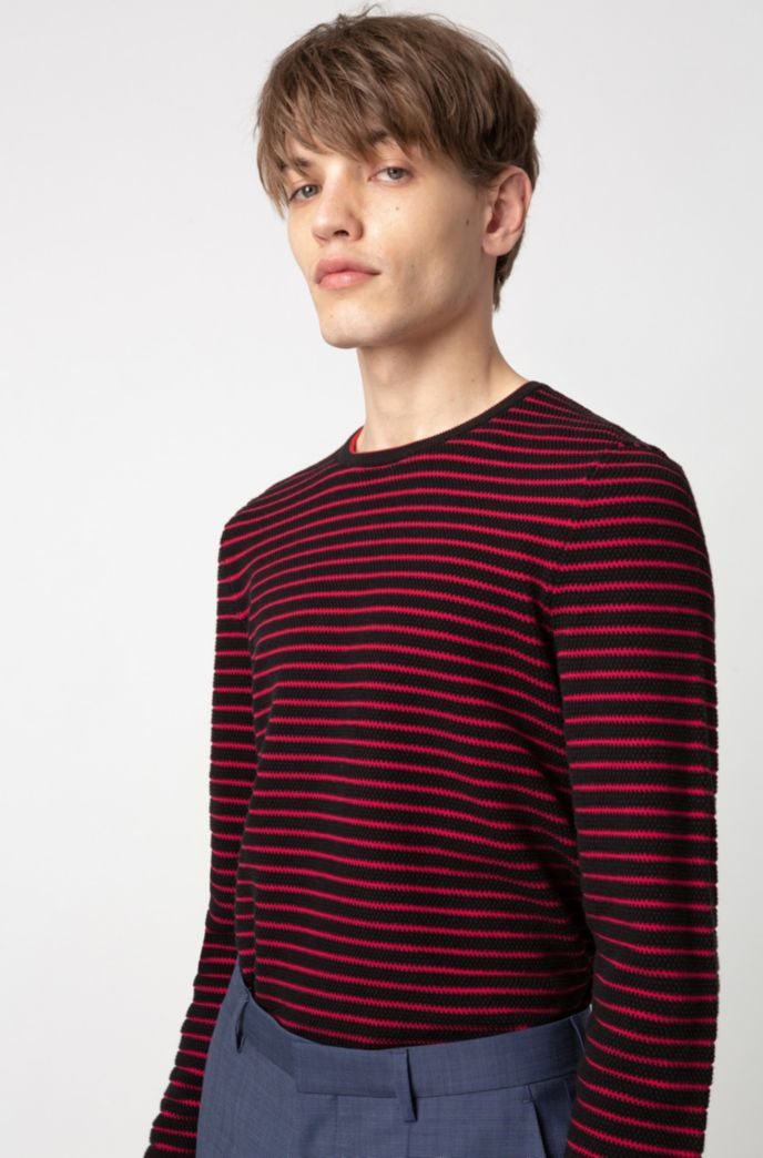 Breton-striped cotton sweater in knitted piqué