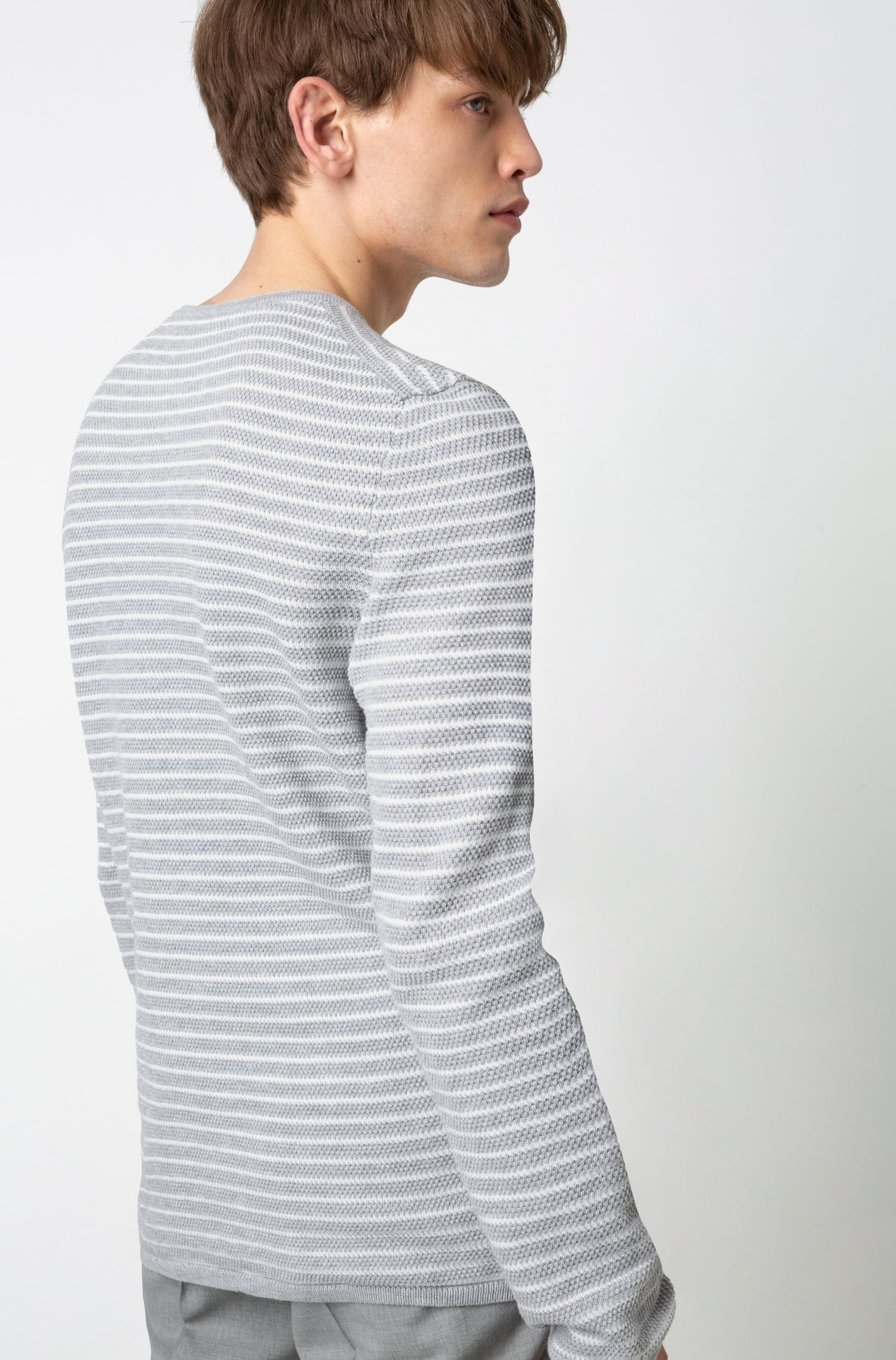 Breton-striped cotton sweater in knitted piqué, Grey
