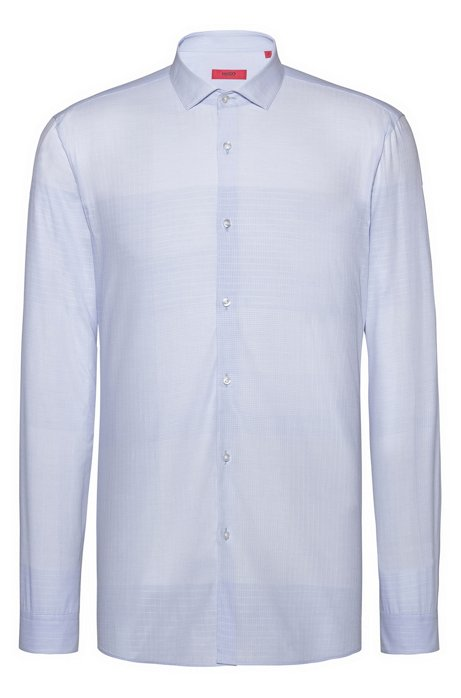 Extra-slim-fit shirt in graph-check cotton jacquard, Light Blue