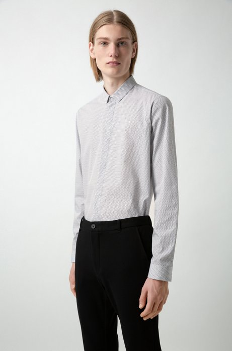 Extra-slim-fit cotton shirt with micro print, Open White