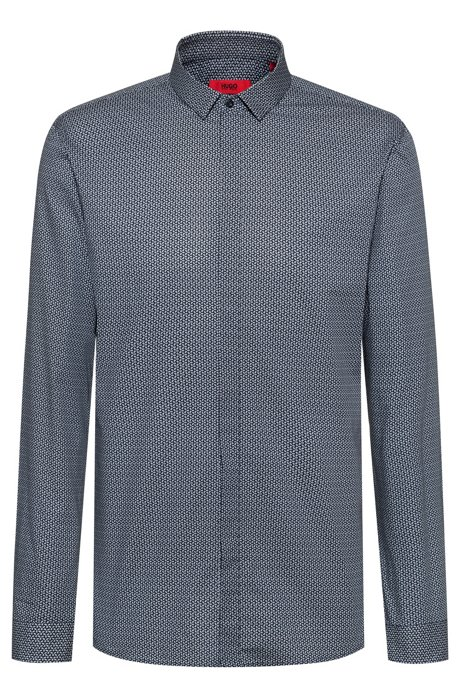 Extra-slim-fit cotton shirt with micro print, Dark Blue