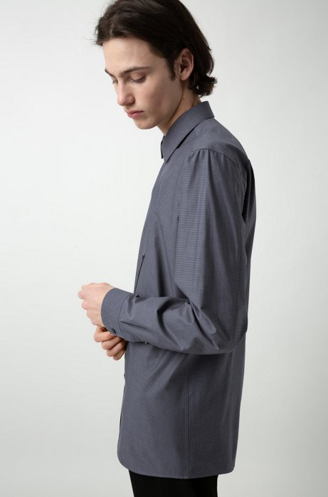 Extra-slim-fit cotton shirt with all-over structure, Black