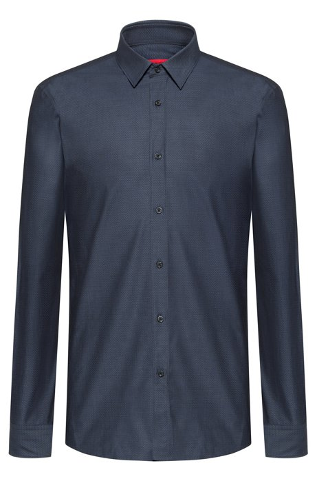 Extra-slim-fit cotton shirt with all-over structure, Open Blue