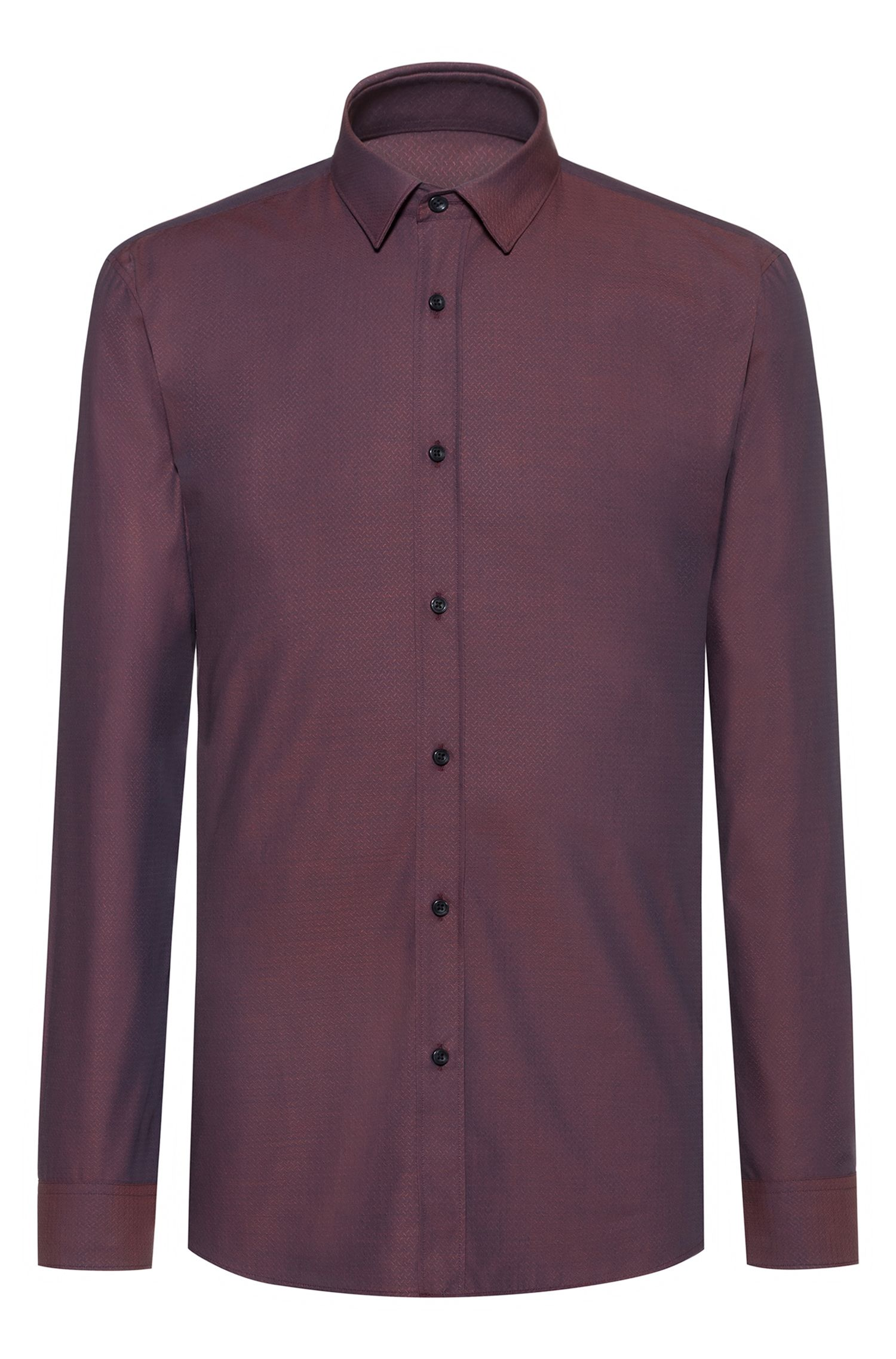 Extra-slim-fit cotton shirt with all-over structure, Dark Orange