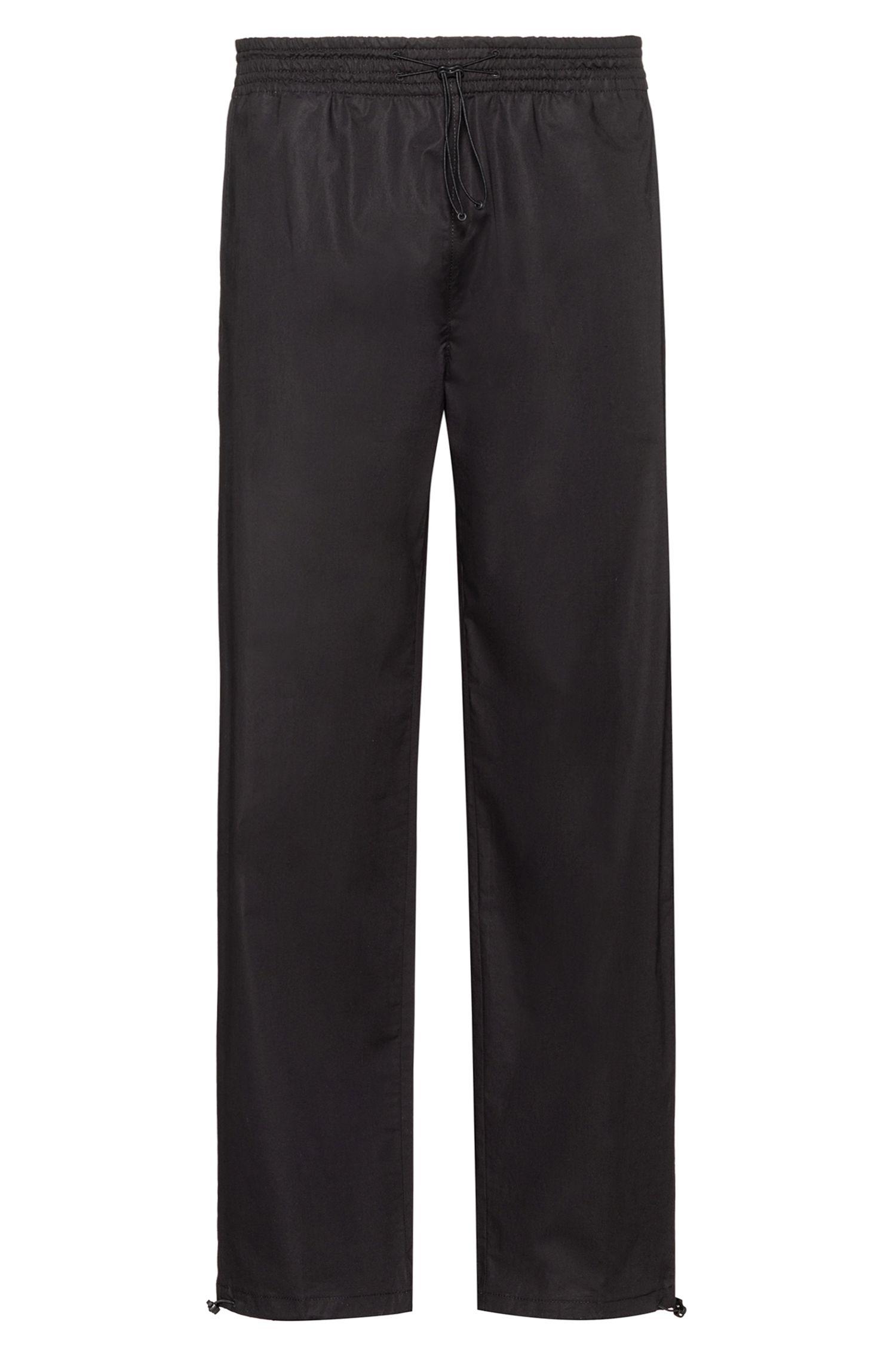 Straight-leg pants with elastic waistband and hems, Black