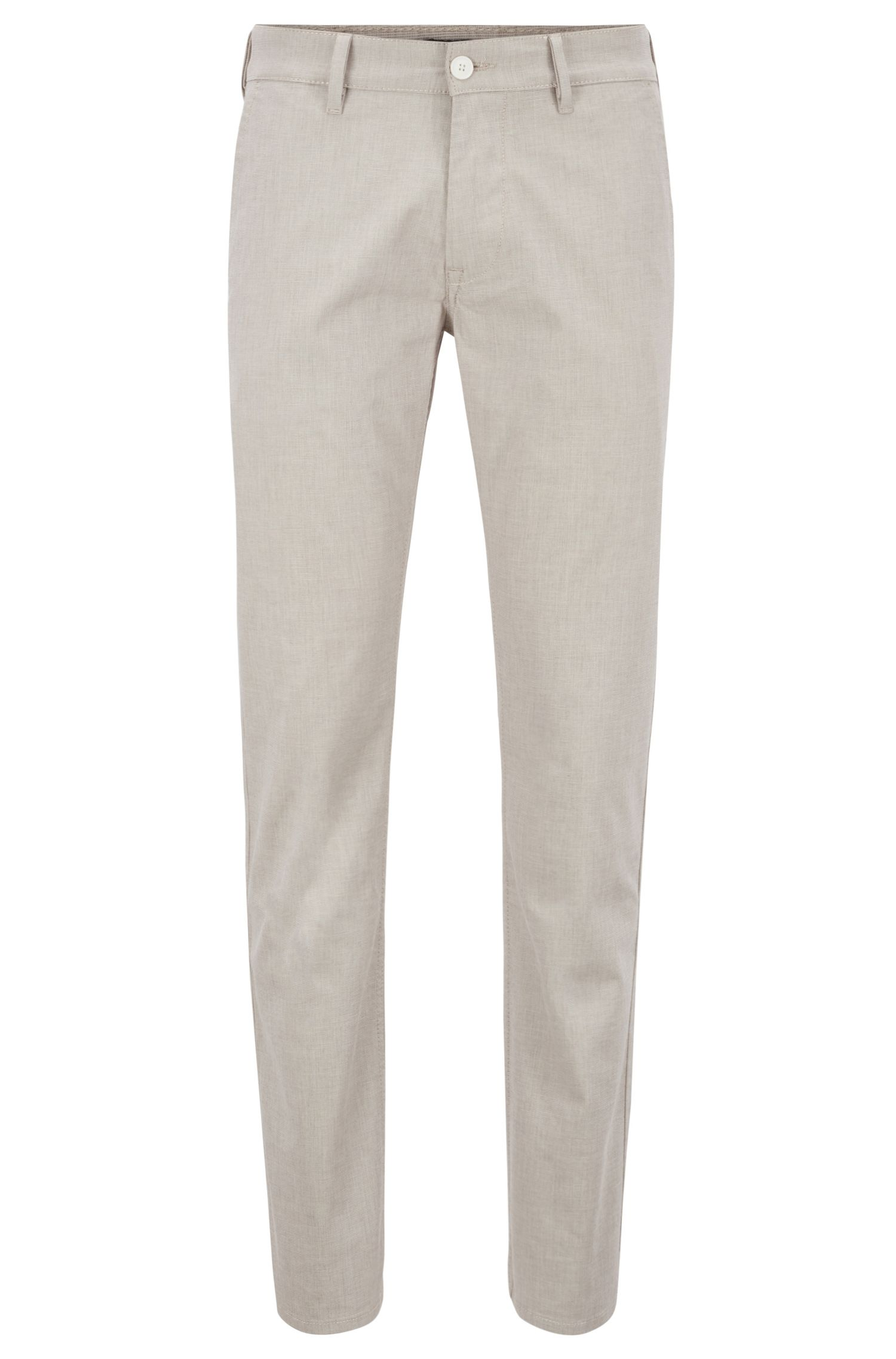 Slim-fit pants in micro-structured stretch cotton, Light Beige