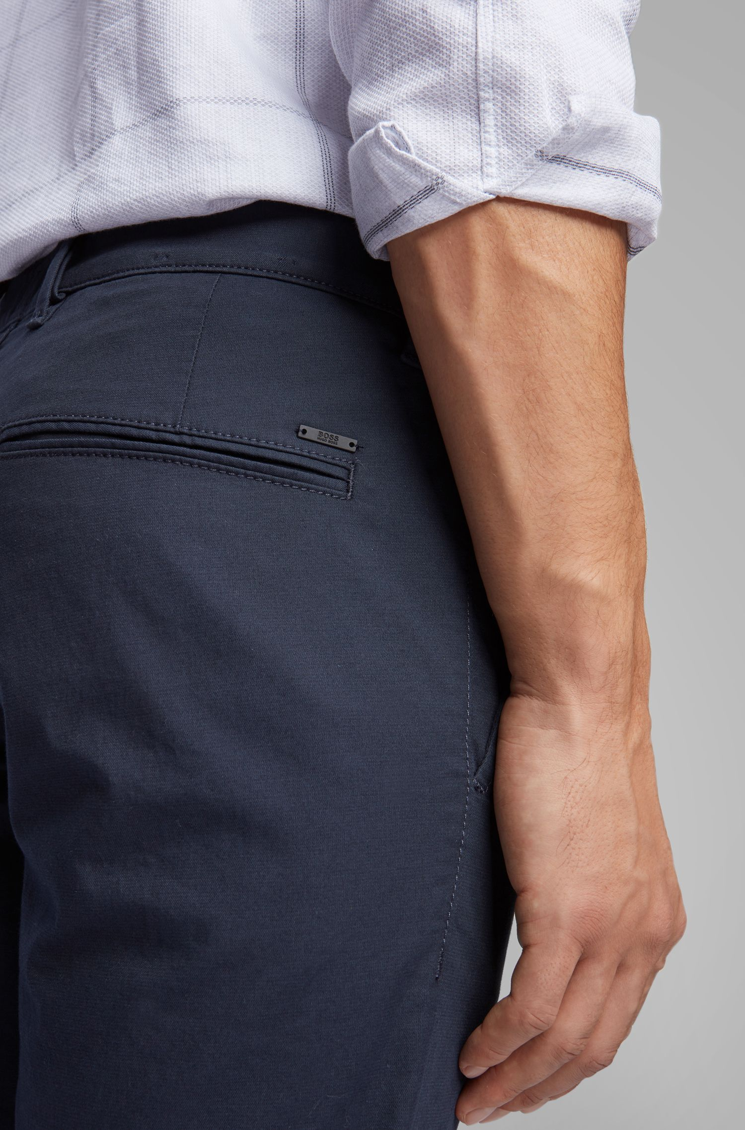 Slim-fit pants in micro-structured stretch cotton, Dark Blue