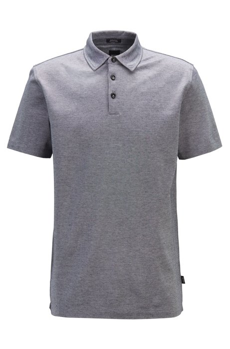 Short-sleeved polo shirt in Oxford cotton with linen, Dark Blue