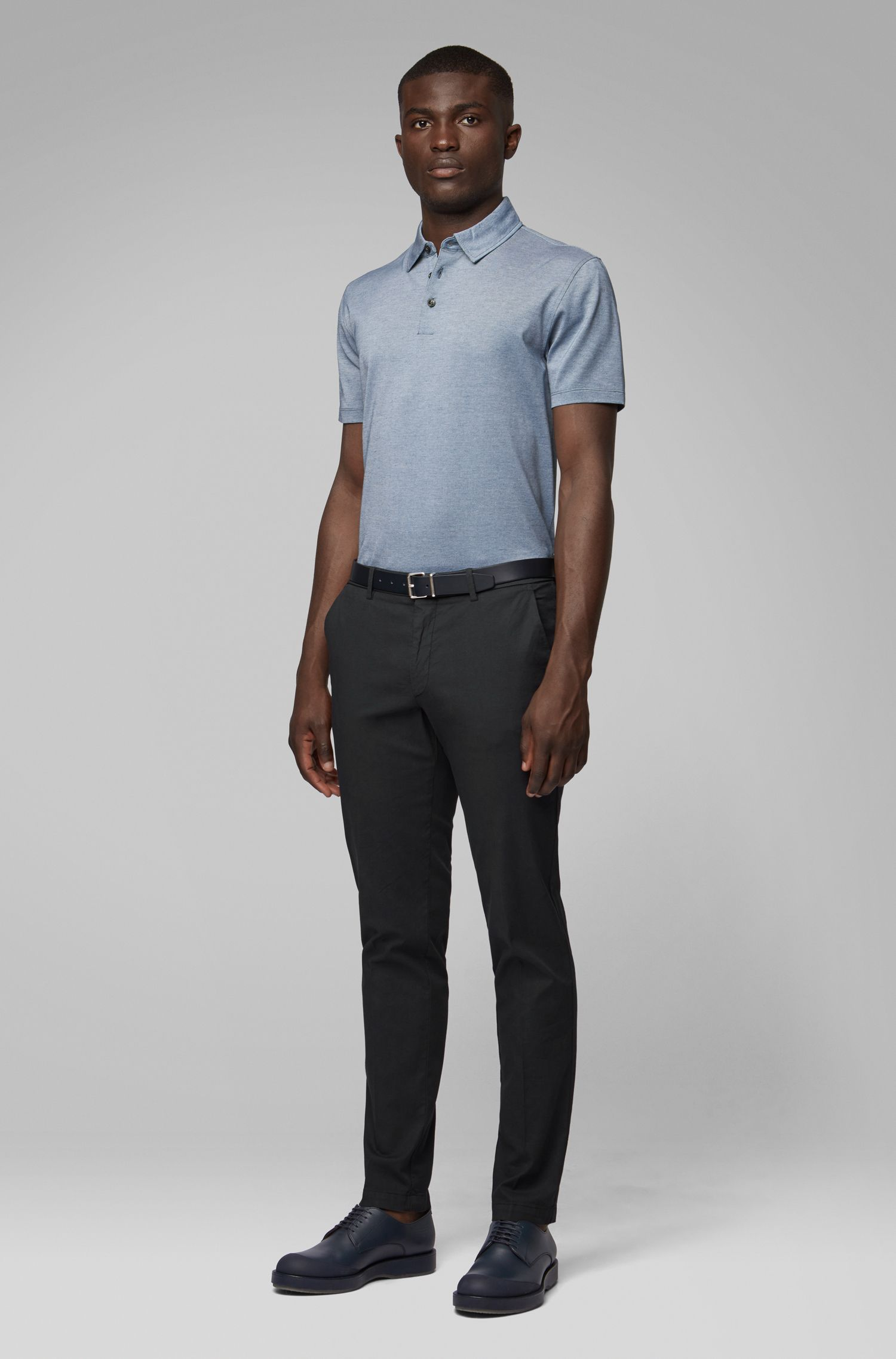 Short-sleeved polo shirt in Oxford cotton with linen, Blue