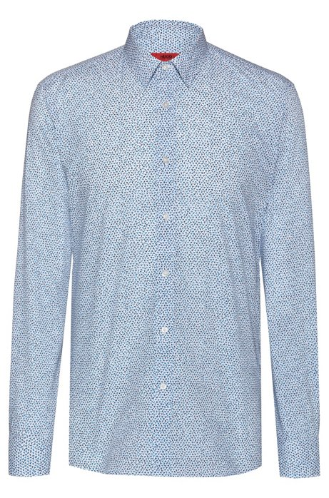 588d9f9d8 HUGO - Extra-slim-fit shirt in micro-print cotton