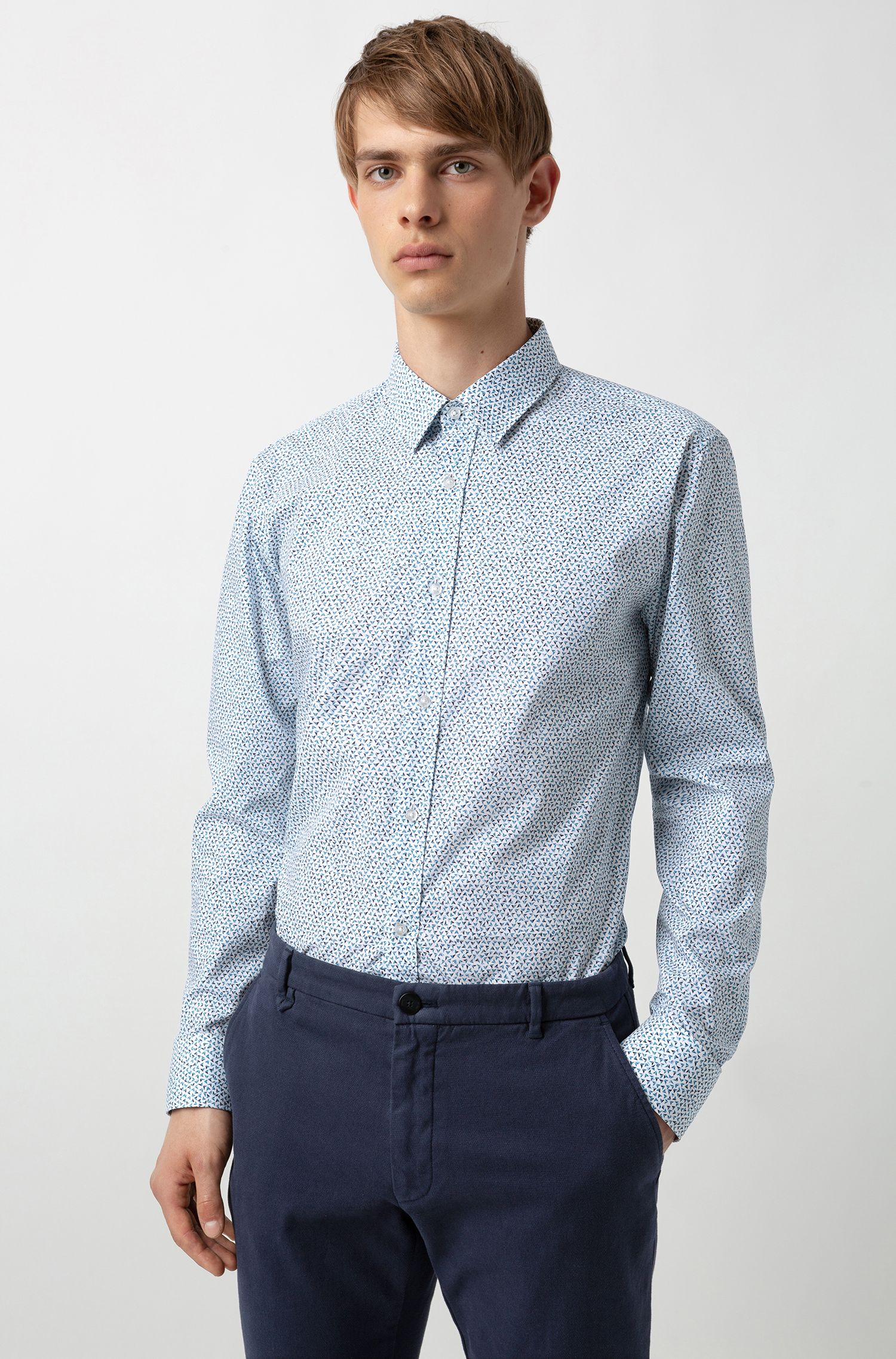 Extra-slim-fit shirt in micro-print cotton, Open Blue