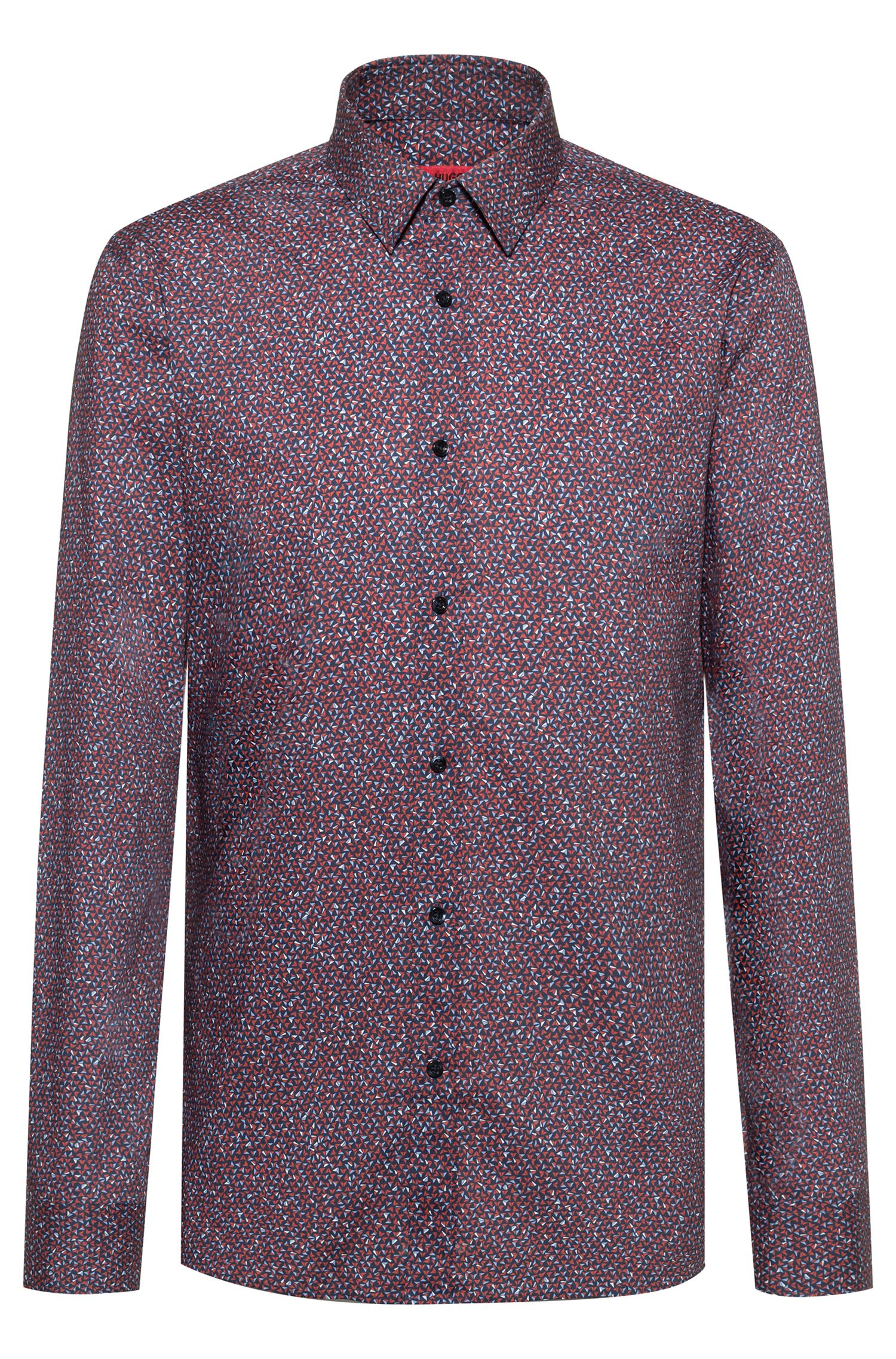 Extra-slim-fit shirt in micro-print cotton, Open Pink