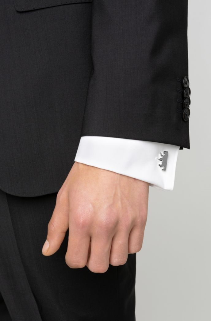 Bear-shaped cufflinks in highly polished metal